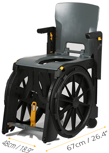 Wheelable wheelchair for showers and restrooms is very compact in size