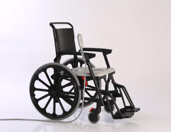 Lightweight, durable, adjustable commode and shower chair for comfortable daily use, easy to assemble for occasional traveling